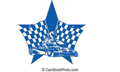 Star, Go Kart, Vector,