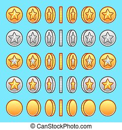 Star gold silver coins rotation set sprite game graphics