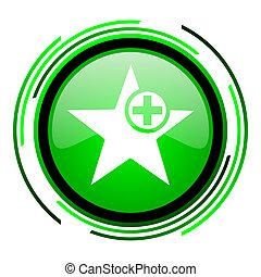 star green circle glossy icon
