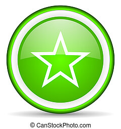 star green glossy icon on white background