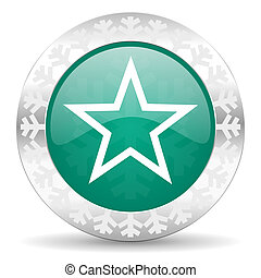 star green icon, christmas button