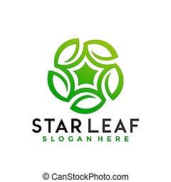 Star Green Leaves logo Design vector illustration