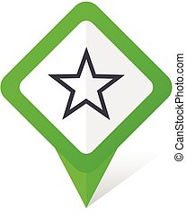 Star green square pointer vector icon in eps 10 on white background with shadow.