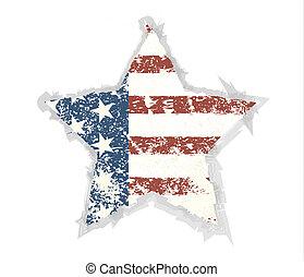 Star Grunge American flag background. Vector illustration, EPS 1
