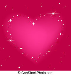 Star heart in pinkt sky
