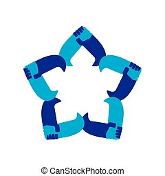 star holding hand team work symbol vector
