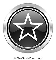 star icon, black chrome button