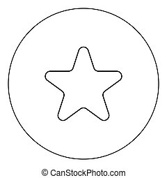 Star icon black color in circle vector illustration isolated