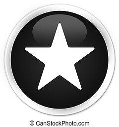Star icon black glossy round button