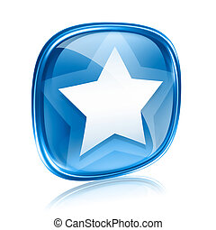 star icon blue glass glass, isolated on white background.