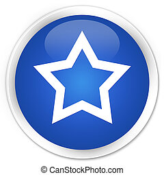 Star icon blue glossy round button
