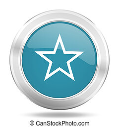 star icon, blue round glossy metallic button, web and mobile app design illustration