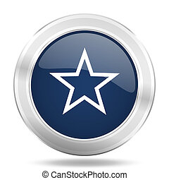 star icon, dark blue round metallic internet button, web and mobile app illustration