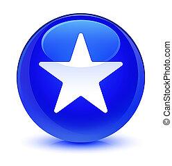 Star icon glassy blue round button