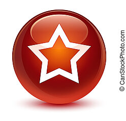 Star icon glassy brown round button