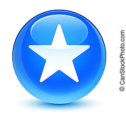 Star icon glassy cyan blue round button