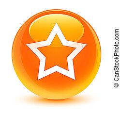 Star icon glassy orange round button