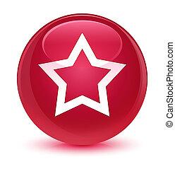 Star icon glassy pink round button