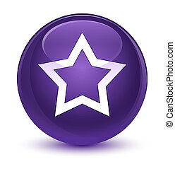 Star icon glassy purple round button