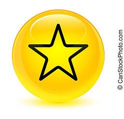 Star icon glassy yellow round button