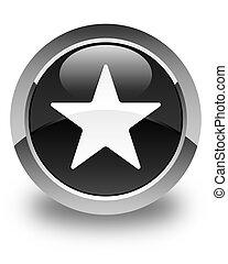 Star icon glossy black round button