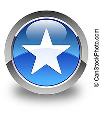 Star icon glossy blue round button 2
