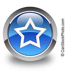 Star icon glossy blue round button