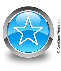 Star icon glossy cyan blue round button