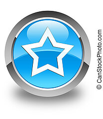 Star icon glossy cyan blue round button