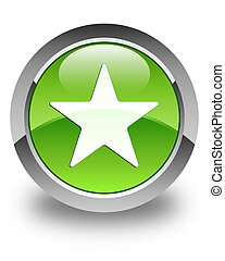 Star icon glossy green round button 2
