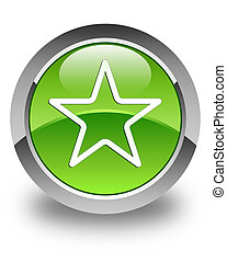 Star icon glossy green round button 3