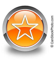 Star icon glossy orange round button 3