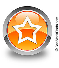 Star icon glossy orange round button