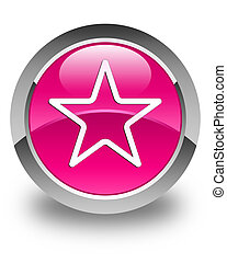 Star icon glossy pink round button