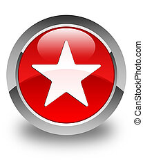 Star icon glossy red round button 2