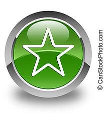 Star icon glossy soft green round button