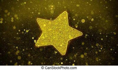 Star Icon Golden Glitter Shine Particles. - Star Icon Golden...