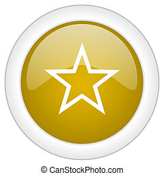star icon, golden round glossy button, web and mobile app design illustration
