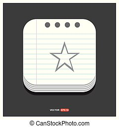 Star Icon Gray icon on Notepad Style template Vector EPS 10 Free Icon