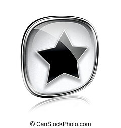 star icon grey glass, isolated on white background.