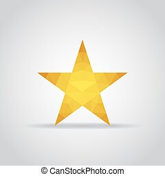 Star icon in polygonal style on a gray background