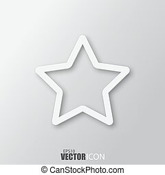 Star icon in white  style with shadow isolated on grey background.