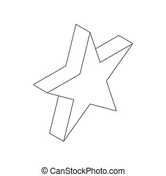 Star icon, isometric 3d style