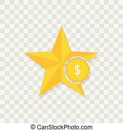 Star icon, money dollar icon