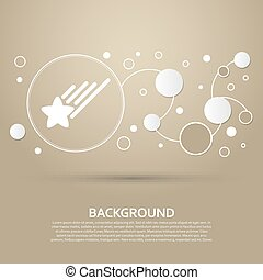 Star Icon on a brown background with elegant style and modern design infographic. Vector