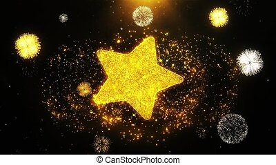 Star Icon on Firework Display Explosion Particles. Object,...