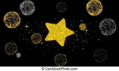 Star Icon on Glitter Golden Particles Firework. - Star Icon...