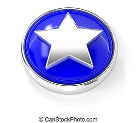 Star icon on glossy blue round button