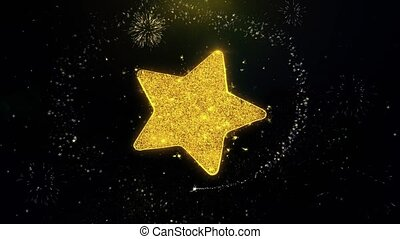 Star Icon on Gold Glitter Particles Spark Exploding Fireworks Display . Object, Shape, Text, Design, Element, Symbol 4K Animation.