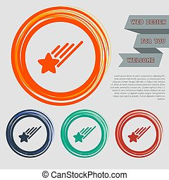 Star Icon on the red, blue, green, orange buttons for your website and design with space text. Vector